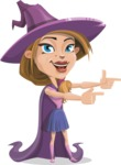 Witch with Hat Cartoon Vector Character - Pointing with Hands