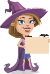 Witch with Hat Cartoon Vector Character - Presenting on a Blank Halloween Sign