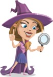 Witch with Hat Cartoon Vector Character - Searching
