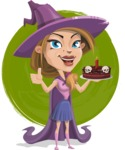 Witch with Hat Cartoon Vector Character - With Cake On a Watercolor Background