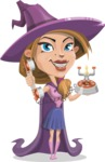 Witch with Hat Cartoon Vector Character - Talking on Phone