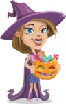 Witch with Hat Cartoon Vector Character - Trick Or Treating
