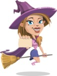 Witch with Hat Cartoon Vector Character - With a Blank Business Card