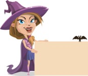 Witch with Hat Cartoon Vector Character - With a Blank Halloween Sign with a Bat