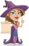 Witch with Hat Cartoon Vector Character - With a Blank Scroll