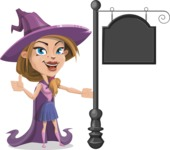 Witch with Hat Cartoon Vector Character - With a Blank Vintage Street Sign