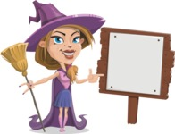 Witch with Hat Cartoon Vector Character - With a Blank Wood Sign