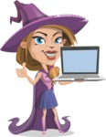Witch with Hat Cartoon Vector Character - With a Computer