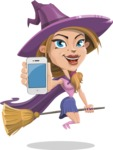 Witch with Hat Cartoon Vector Character - with a Phone