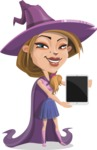 Witch with Hat Cartoon Vector Character - With a Tablet
