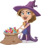 Witch with Hat Cartoon Vector Character - With Bag full of Halloween Treats