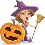 Witch with Hat Cartoon Vector Character - With Big Halloween Pumpkin