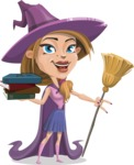 Witch with Hat Cartoon Vector Character - With Books
