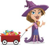 Witch with Hat Cartoon Vector Character - With Candy Wagoon