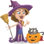 Witch with Hat Cartoon Vector Character - With Cat