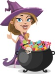 Witch with Hat Cartoon Vector Character - with Cauldron full of Sweets