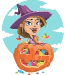 Witch with Hat Cartoon Vector Character - With Colorful Treats Halloween Background