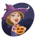 Witch with Hat Cartoon Vector Character - With Dark Night Background