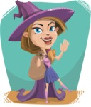 Witch with Hat Cartoon Vector Character - With Flat Halloween Background