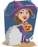 Witch with Hat Cartoon Vector Character - With Grave Background