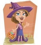 Witch with Hat Cartoon Vector Character - With Graveyard Background