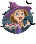 Witch with Hat Cartoon Vector Character - With Halloween Background with Bats