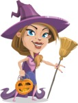 Witch with Hat Cartoon Vector Character - With Halloween Lantern