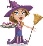 Witch with Hat Cartoon Vector Character - With Halloween Sweets