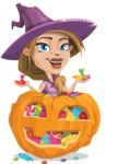 Witch with Hat Cartoon Vector Character - With Huge Pumpkin full of Treats