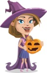 Witch with Hat Cartoon Vector Character - With Pumpkin