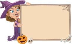 Witch with Hat Cartoon Vector Character - With Whiteboard on Halloween Theme