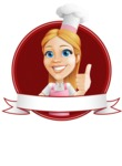 Cute Cooking Housewife Cartoon Vector Character AKA Charlotte Cabernet - With Thumbs Up Gesture Banner Design Template