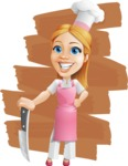 Cute Cooking Housewife Cartoon Vector Character AKA Charlotte Cabernet - With a big Knife Illustration with Background
