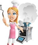 Cute Cooking Housewife Cartoon Vector Character AKA Charlotte Cabernet - Messy Kitchen