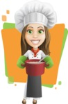 Cook Woman Cartoon Vector Character AKA Monique Voilà - Charming Chef with Background Illustration