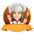 Cook Woman Cartoon Vector Character AKA Monique Voilà - Delicious Premade Sticker Template with Label for Name