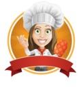 Cook Woman Cartoon Vector Character AKA Monique Voilà - Female Chef Sticker Template