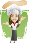 Cook Woman Cartoon Vector Character AKA Monique Voilà - Female Pizza Chef Illustration with Background