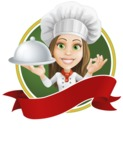Cook Woman Cartoon Vector Character AKA Monique Voilà - Sticker Template with Label and Woman Chef