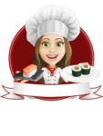 Cook Woman Cartoon Vector Character AKA Monique Voilà - Sushi Banner Design Template