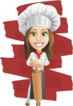 Cook Woman Cartoon Vector Character AKA Monique Voilà - The Best Chef Illustration with Background