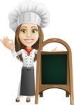 Cook Woman Cartoon Vector Character AKA Monique Voilà - With Blank Menu Board