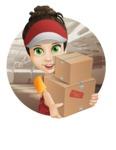 Courier Girl Cartoon Vector Character AKA Hailey the Jumpsuited - Shape 2