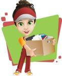 Courier Girl Cartoon Vector Character AKA Hailey the Jumpsuited - Shape 5