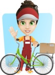 Courier Girl Cartoon Vector Character AKA Hailey the Jumpsuited - Shape 6