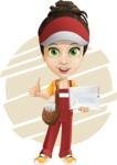 Courier Girl Cartoon Vector Character AKA Hailey the Jumpsuited - Shape 7