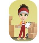 Courier Girl Cartoon Vector Character AKA Hailey the Jumpsuited - Shape 9
