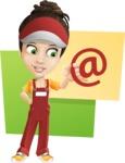 Courier Girl Cartoon Vector Character AKA Hailey the Jumpsuited - Shape 10