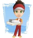 Courier Girl Cartoon Vector Character AKA Hailey the Jumpsuited - Shape 11