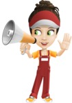 Courier Girl Cartoon Vector Character AKA Hailey the Jumpsuited - Loudspeaker